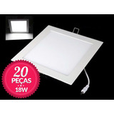 20 Painel Plafon Embutir Super Led Ultra Slim Downlight 18w