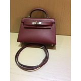 238e2966c27 Bolsa Hermes Kelly Mini 20cm Bordo 100% Couro Original