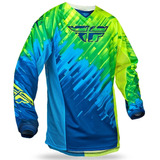 Camisa Off Road Fly Kinetic Glitch   Azul   Amarela Tam: Gg