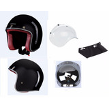 Capacete Lucca Custom Old School New Glossy Black   Completo
