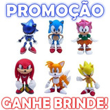 Cole��o Sonic Miniaturas Sonic 6 Pe�as Sonic Tails Knuckles