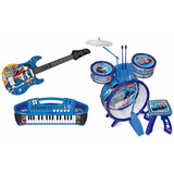 Conjunto Musical Bateria  Guitarra E Teclado Hot Wheels  Fun