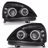 Farol Projector Angel Eyes Leds Renault Clio 03 12 Black Par