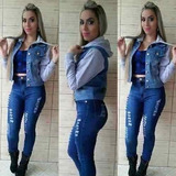 296945559 Jaquetas   Jaqueta Jeans Moletom Casaco Capuz Agasalho Feminina ...