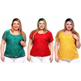 Kit 3 Blusas Plus Size Viscolycra Com Renda   Bl063