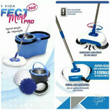 Kit Com Balde Spin Perfect Mop Pró   Vassoura Mágica 360º
