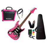 Kit Guitarra Eagle Egp10cr Rosa Pink Caixa Amplificador Shel