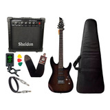Kit Guitarra Tagima Memphis Mg260 Preto Transparente Sheldon