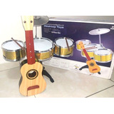 Kit Mini Bateria Musical Infantil   Mini Violão Brinquedo
