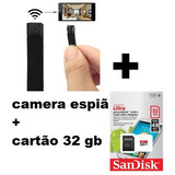 Kit Mini Camera Filmadora Dv Ip Espiã Wifi    Cartao  32 Gb