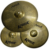 Kit Pratos P  Bateria Krest Aged Brass Abset3 14 16 20   Bag