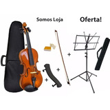 Kit Violino Black Wood 4 4 Arco Breu  Espaleira Estante Case
