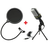 Microfone Condensador Sf 920   Pop Filter Podcast Studio Xlr