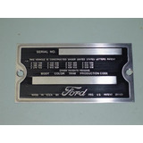 Plaqueta Ford Placa N� Chassi Patente Made In Usa