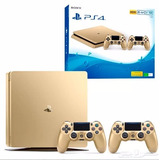 Playstation 4 Slim Gold Sony 1tb Ps4 1 Tera 2 Controles