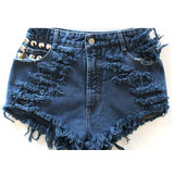 Shorts Jeans Destroyed Colorido  Azul Customizado