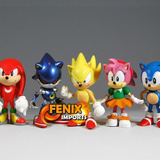 Sonic Bonecos Miniaturas Sonic 6 Pe�as  Tails Knuckles Sonic