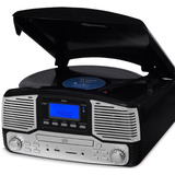 Toca Discos Jazz Vitrola Cd Gravação Bluetooth Fm Preto
