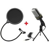 kit   Pop Filter       Microfone C fio Condensador Sf 666