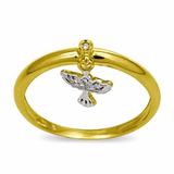 Anel Berloque Ouro18k Divino Espirito Santo Com 4 Brilhantes