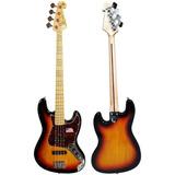 Baixo 4 Cordas Sx Jazz Bass Sjb75 Escudo Tortoise Promoção