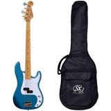 Baixo 4 Cordas Sx Spb57 Lpb Azul Precision Bass Com Bag
