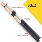 Baqueta Acústica Em Bambu Vassourinha Vassoura O Par Drum