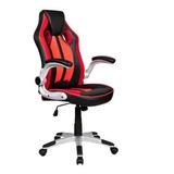 Cadeira De Escritório Pelegrin 3009 Gamer Preta E Vermelha Con Estofado Do Couro Sintético