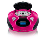 Caixa De Som Portatil Cd Player Radio Fm Sd Pd 20w Rms Rosa