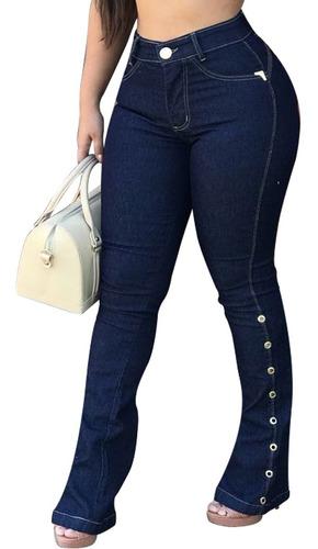 Calça Jeans Flare Ilhós Moda Feminina Alta Modeladora Compra