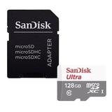 Cartão De Memória Sandisk Sdsqunr-128g-gn6ta Ultra Com Adaptador Sd 128gb