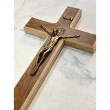 Crucifixo De Madeira E Metal Medalha São Bento 23cm Lindo