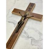 Cruz Crucifixo De Parede Madeira E Metal São Bento 34cm