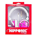 Fone Headphone Style Dj Nipponic Nip cd 830 Branco Com Rosa