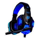 Headset Gamer Haiz Deneb Preto E Azul Com Luz Azul Led