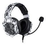 Headset Gamer Onikuma K8 Camuflagem Branca Com Luz Rgb Led