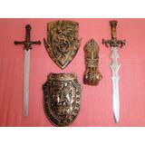 Kit  Espadas E Escudos Com  Punho Medieval Romano Guerreiro