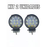 Kit 2 Farol Milha 14 Leds 42w 12v/24v Redondo Off-road 6000k