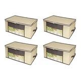 Kit 4 Caixa Organizadora Organizador Closet Roupa 45x45x20cm Edredom Travesseiro Casacos Armário Guarda Roupas Flexível