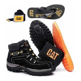 Kit Bota Adventure Caterpillar +chinelo Carteira Cinto Brind