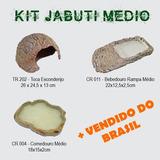 Kit Jabuti Médio, Toca M + Bebedouro + Comedouro M Reptmania