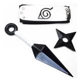 Mega Kit Ninja Naruto Bandana + Kunai 25cm + Shuriken 10cm