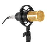 Microfone Andowl Bm-800 Condensador Unidirecional Preto/dourado