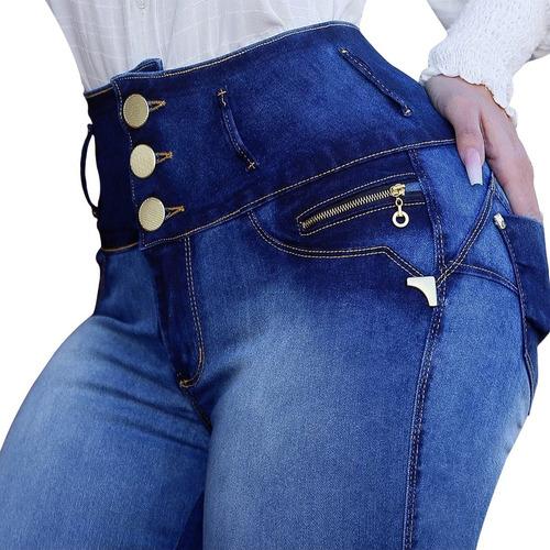 Promoção Calça Jeans Feminina Cintura Alta Botões Hot Pants