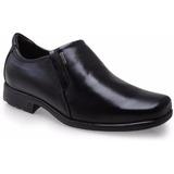 Sapato Masculino Pegada Couro Sem Cadarço Preto 22101 Cd 315