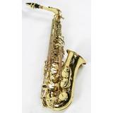 Saxofone Alto Laqueado Eb Custom Strauss Sax Mi Com Case Completo