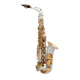 Saxofone Alto Mib Branco Com Dourado Halk Frete Gratis