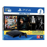 Sony Playstation 4 Slim 1tb Mega Pack: Grand Theft Auto V Premium Edition/death Stranding/the Last Of Us Remastered Cor Preto Onyx
