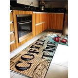 Tapete Para Cozinha Kit Coffe Time Vintage Decoração Cd4149