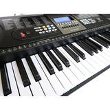 Teclado Musical 61 Teclas Hk 2106- Lcd+ Fonte+ Sup Partitura